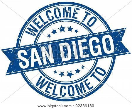 Welcome To San Diego Blue Round Ribbon Stamp