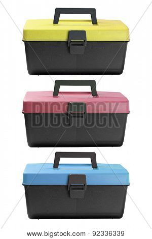 Three Plastic Tool Boxes on White background
