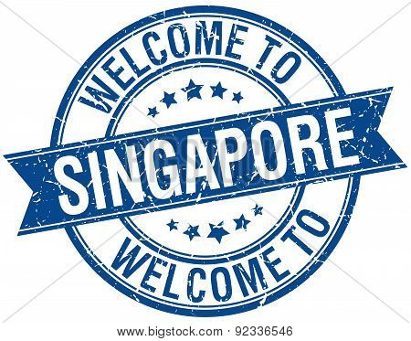Welcome To Singapore Blue Round Ribbon Stamp