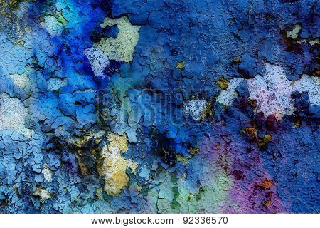Blue Crackle Wall Texture, Color Crackle Background