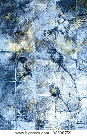 Blue Crackle Wall Texture, Color Crackle Background. With Bird.