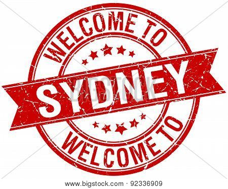 Welcome To Sydney Red Round Ribbon Stamp