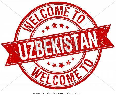 Welcome To Uzbekistan Red Round Ribbon Stamp