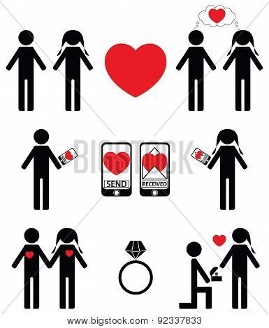 Falling in love and engagement icons