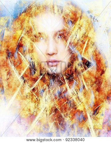 Beautiful Airbrush Painting Of An Enchanting Woman Face With Structure Colour Background, Fire Effec