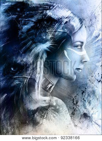 Beautiful Mystic Painting Of A Young Indian Woman Wearing A Big