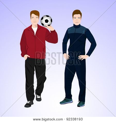 Two sports man with a soccer ball.