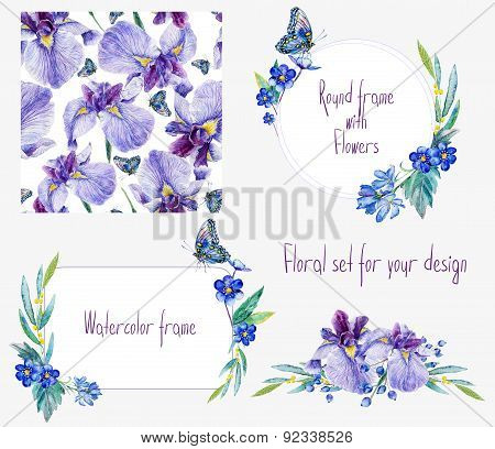 Watercolor Floral Set Templates With Irises For Your Design.