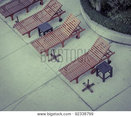 Beach Chairs At Swimming Pool