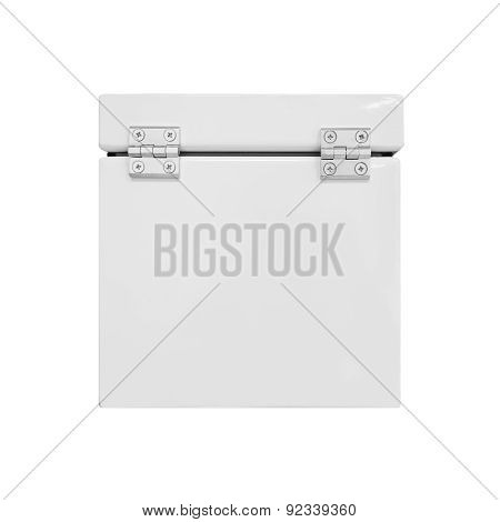 White Industrial Metal Box With Closed Cover