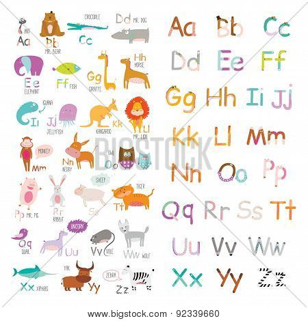 Cute vector zoo alphabet with cartoon and funny animals