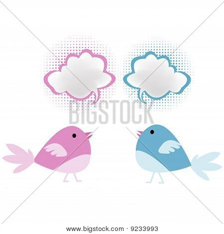 Pink And Blue Birds With Chat Bubbles