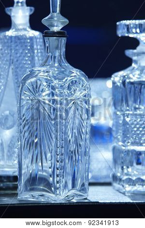Empty Crystal Bottles For Liquor In Blue Tone