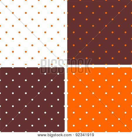 Tile vector background set with orange, brown and white polka dots