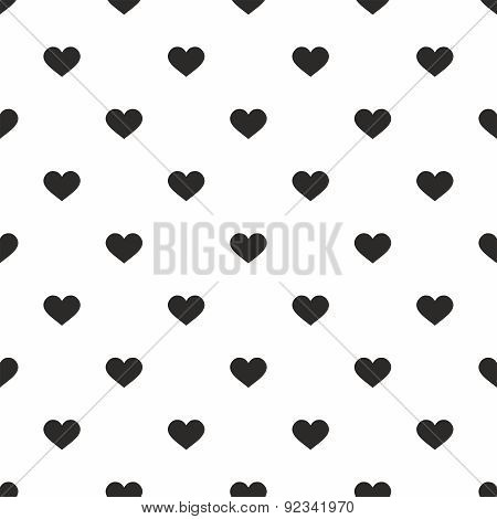 Tile vector pattern with black hearts on white background