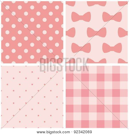 Tile baby pink vector pattern set with polka dots, checkered plaid and cute bows