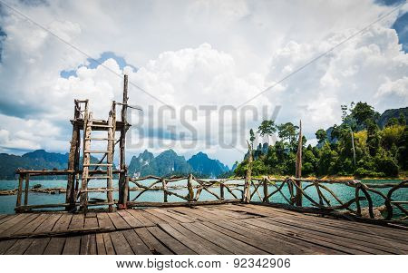 Beautiful Mountains Lake River Sky And Natural Attraction In Ratchaprapha Dam