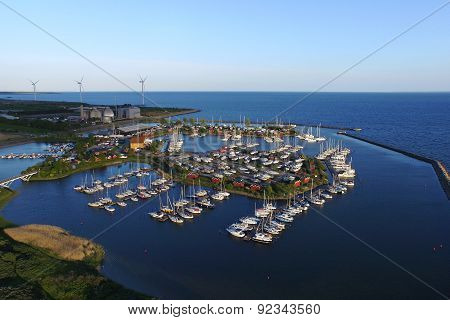 Aerial View Of Broendby Habour, Denmark