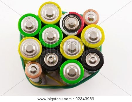 Closeup Of Multicolored Batteries