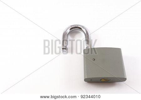 Unlocked Grey Metal Padlock