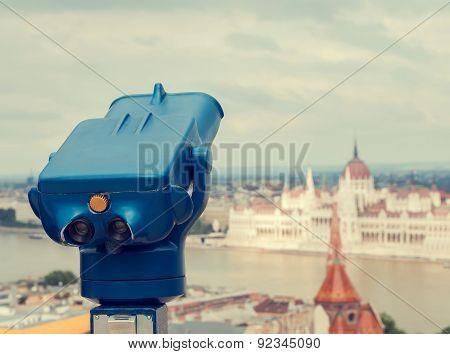 Blue Telescope At Budapest, Hungary. Retro Toned Photo.