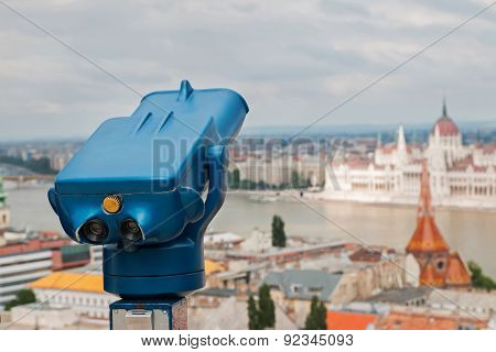 Blue Telescope At Budapest, Hungary.