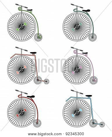 Vintage bikes on white background