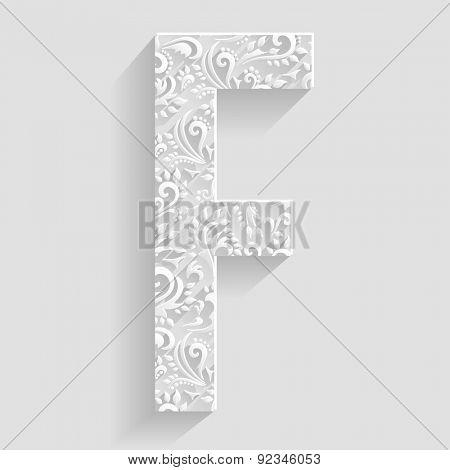 Letter F. Vector Floral Invitation cards Decorative Font