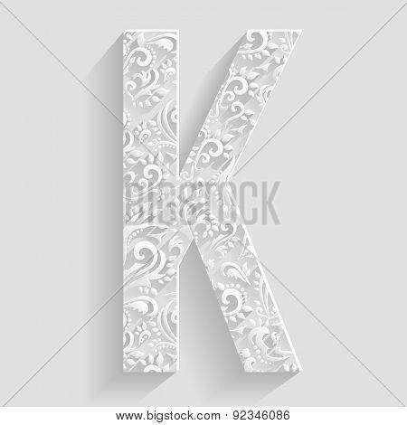 Letter K. Vector Floral Invitation cards Decorative Font