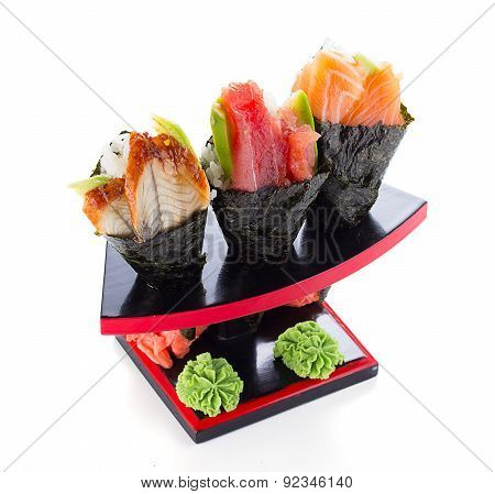 Apanese Cuisine In The Restaurant Temaki Isolated On White Background