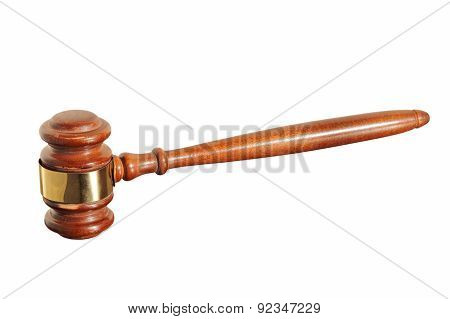 Wooden Judge Gavel Taken Closeup.isolated.