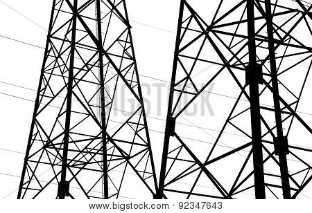 Fragment Of The Industrial Metal Framework, Silhouette On A White Background
