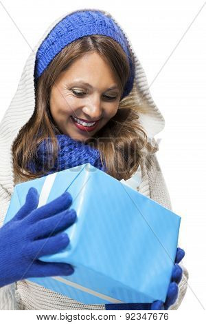 Young Woman Holding A Blue Gift