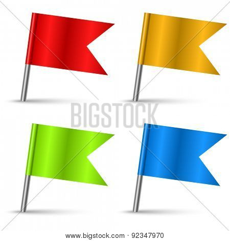 Color pin flags set vector template isolated on white background.
