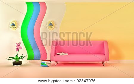 modern room with pink sofa, sconce and pink flower