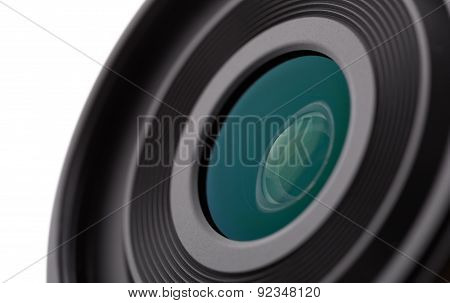 Camera Lens Close-up On A White Background