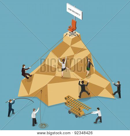 Job Vacancy Flat Isometric Vector Illustration.