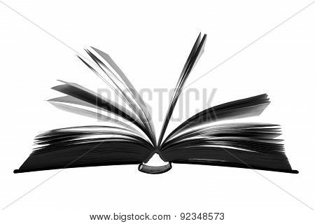Open Book. Silhouette On A White Background.