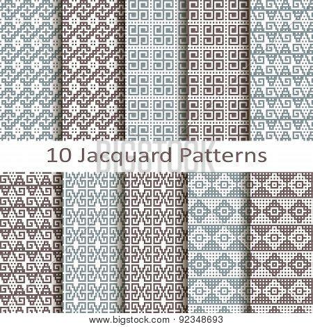 set of ten jacquard patterns