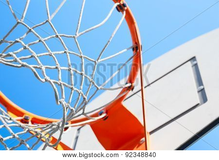 Basketball Hoop On A Background Of Blue Sky