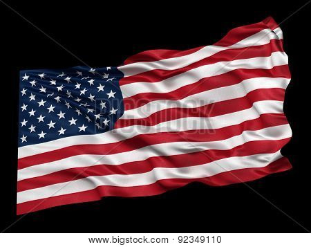 Waving flag of the USA from a low angle over black background. Easy to isolate when using the black background as matte.