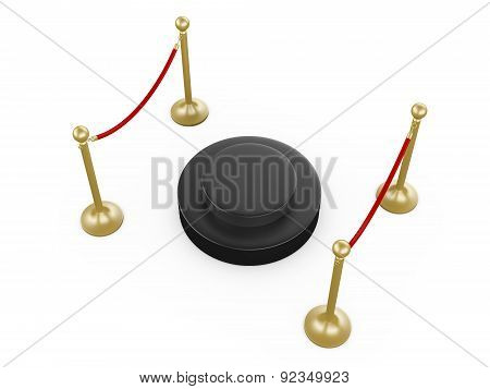 Golden Stanchion And Circular Platform