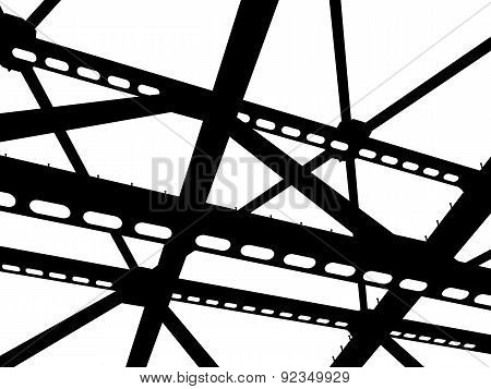 Silhouette Of Steel Beams. Fragment Construction Site.