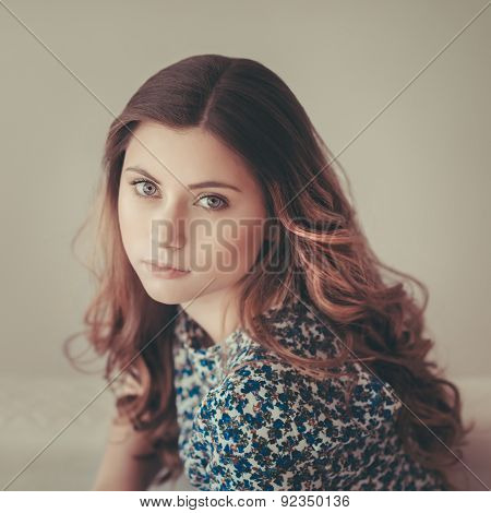 Attractive Pensive Young Woman With Long Curly Red Hair, Indoor Portrait With Soft Focus, Vintage