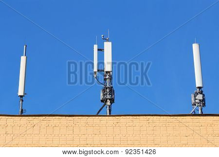 Antennas Cellular Communication On A Building Roof