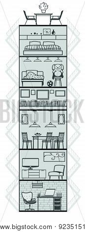 House Interior Silhouette. Vector Illustration