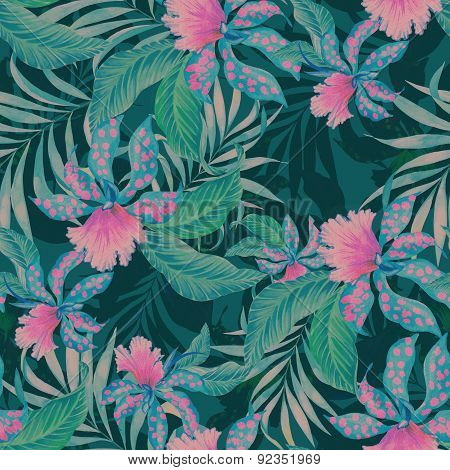 Seamless Tropical Pattern With Orchids.
