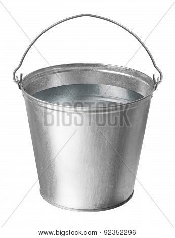Metallic Bucket On A White Background
