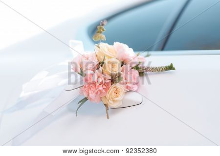 Luxury wedding car decorated with flowers