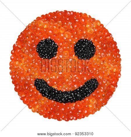 Red And Black Caviar In The Form Of A Smiling Face On A White Background